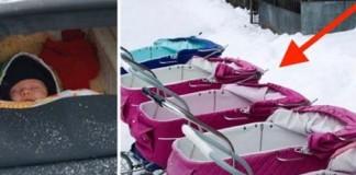 Скандинавии специально оставляют младенцев спать на морозе