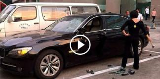 Жена разгромила BMW мужа за измену
